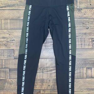 PINK Victoria Secret green and black leggings